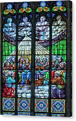 Basilica Santa Maria Del Mar, Barcelona, Spain, Pentecost Window Canvas Print by Curt Rush