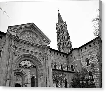 Canvas Print featuring the photograph Basilique St Sernin In Toulouse by Cendrine Marrouat