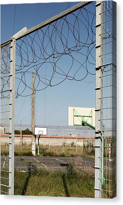 Basket Ball Playground At Abandoned Prison Canvas Print