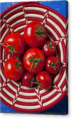 Basket Full Of Red Tomatoes  Canvas Print by Garry Gay