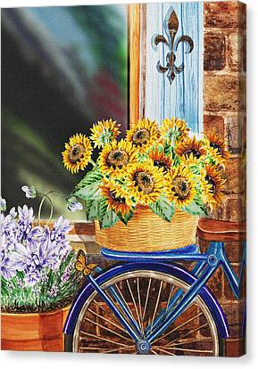 Bicycle With Flowers Canvas Print - Basket Full Of Sunflowers by Irina Sztukowski