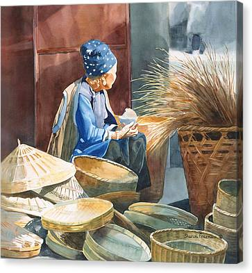 Chinese Peasant Canvas Print - Basket Maker by Sharon Freeman