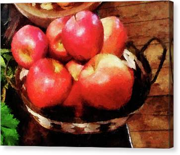 Basket Of Apples In Kitchen Canvas Print by Susan Savad
