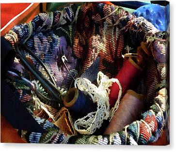 Knitting Canvas Print - Basket Of Crocheting And Thread by Susan Savad