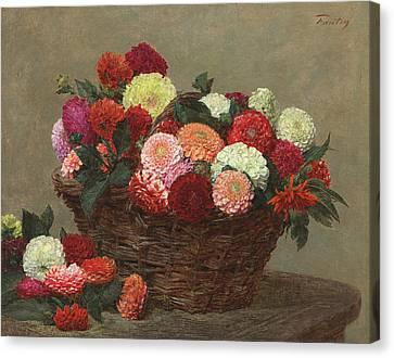 Basket Of Dahlias Canvas Print