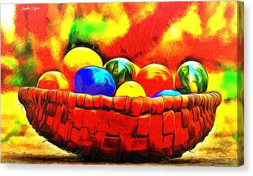 Multi-color Canvas Print - Basket Of Eggs - Da by Leonardo Digenio
