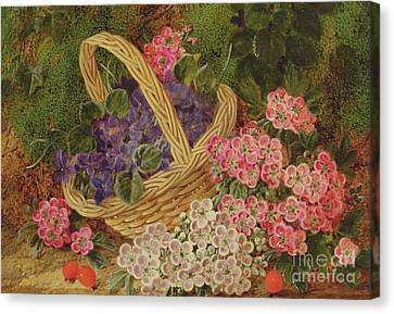 Basket Of Flowers Canvas Print - Basket Of Flowers by George Clare