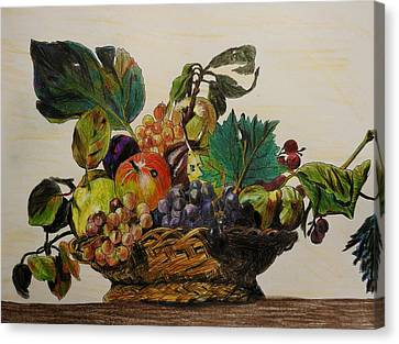 Caravaggio Canvas Print - Basket Of Fruit After Caravaggio by Betty-Anne McDonald