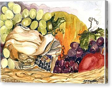 Canvas Print featuring the painting Basket Of Fruit by Pat Crowther