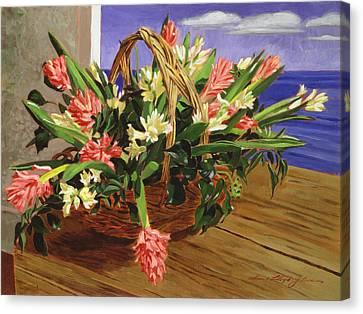 Basket Of Hyacinths Canvas Print by David Lloyd Glover