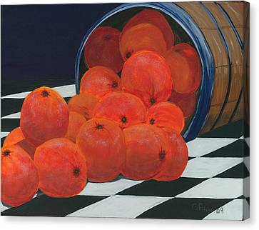 Canvas Print featuring the painting Basket Of Oranges by Gail Finn
