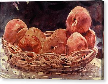 Basket Of Peaches Canvas Print by Donald Maier