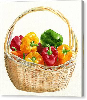Basket Of Peppers Square Design Canvas Print by Sharon Freeman