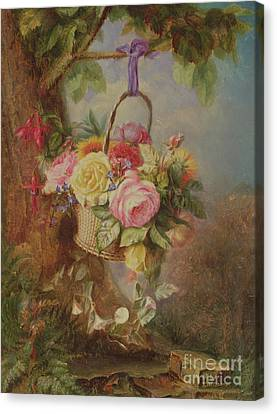 Basket Of Flowers Canvas Print - Basket Of Roses With Fuschia, 19th Century by Edward Charles Williams