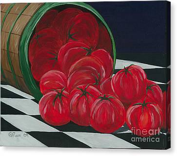 Basket Of Tomatoes Canvas Print by Gail Finn