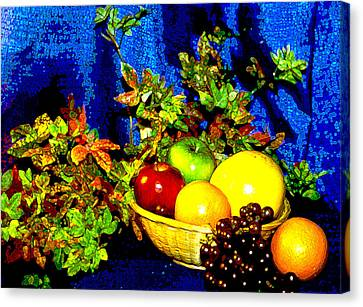 Basket With Fruit Canvas Print by Nancy Mueller