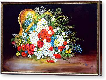 Basket With Summer Flowers Canvas Print by Helmut Rottler