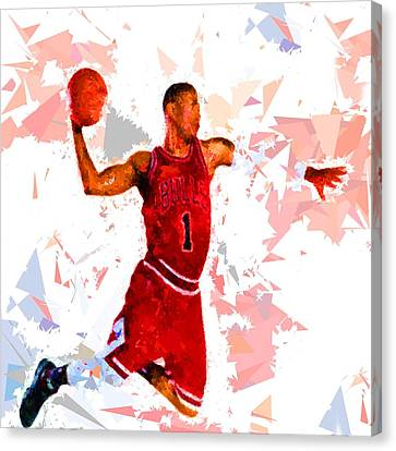 Canvas Print featuring the painting Basketball 1 by Movie Poster Prints