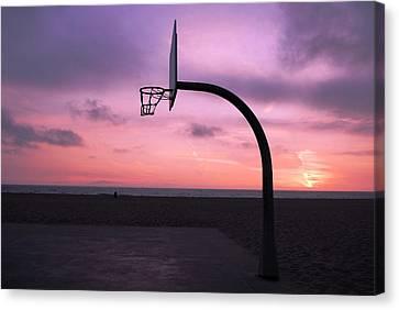 Basketball Court At Sunset Canvas Print