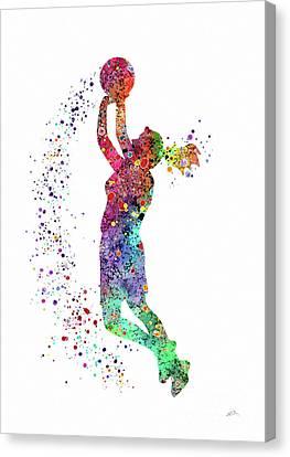 Basketball Girl Player Sports Art Print Canvas Print by Svetla Tancheva