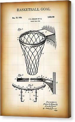 Basketball Goal Patent 1924 Canvas Print by Daniel Hagerman