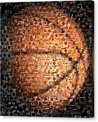 Basketball Mosaic Canvas Print by Paul Van Scott
