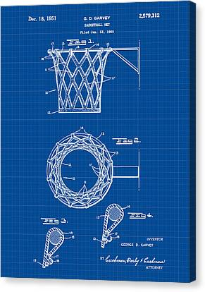 Hoops Canvas Print - Basketball Net Patent 1951 In Blue Print by Bill Cannon