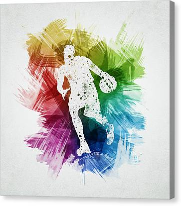 Basketball Player Art 06 Canvas Print by Aged Pixel