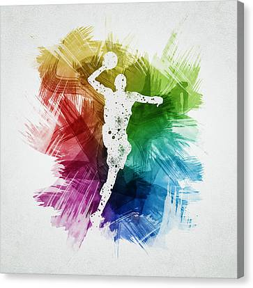 Basketball Player Art 09 Canvas Print by Aged Pixel