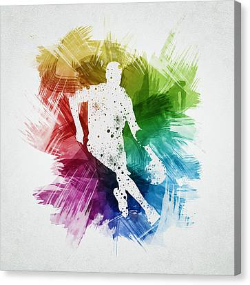 Basketball Player Art 15 Canvas Print by Aged Pixel