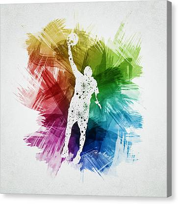 Basketball Player Art 19 Canvas Print by Aged Pixel