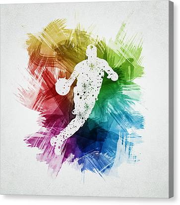 Basketball Player Art 20 Canvas Print by Aged Pixel