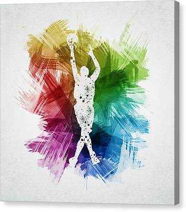Basketball Player Art 22 Canvas Print by Aged Pixel