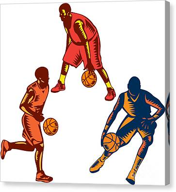 Basketball Collection Canvas Print - Basketball Player Dribble Woodcut Collection by Aloysius Patrimonio