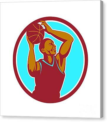 Basketball Player Rebounding Ball Circle Retro Canvas Print by Aloysius Patrimonio