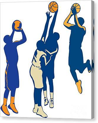 Basketball Collection Canvas Print - Basketball Player Shoot Ball Retro Collection by Aloysius Patrimonio