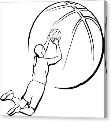 Basketball Player Shooting Canvas Print