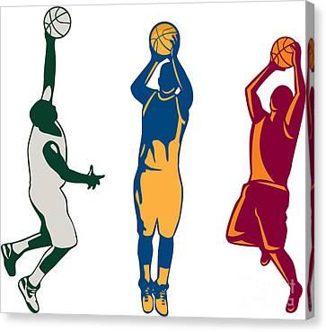 Basketball Collection Canvas Print - Basketball Player Shooting Retro Collection by Aloysius Patrimonio