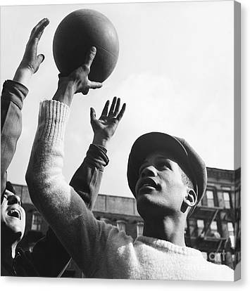 American Basketball Player Canvas Print - Basketball Players, Harlem, 1950s by Erika Stone