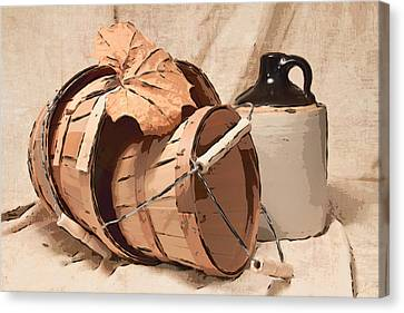 Baskets With Crock I Canvas Print by Tom Mc Nemar