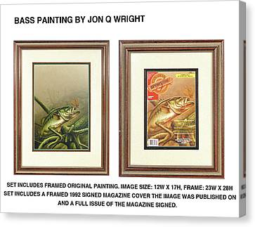 Bass And Log Canvas Print by Jon Q Wright