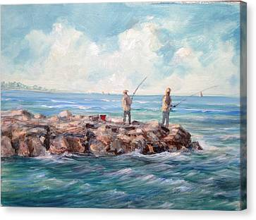 Bass Fishing Off Newport Canvas Print
