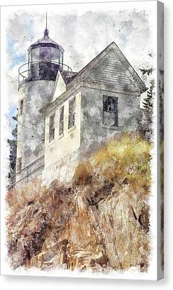 Bass Harbor Light Wc Canvas Print by Peter J Sucy