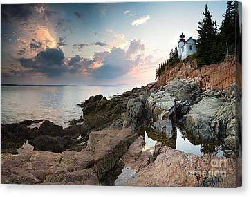 Bass Harbor Lighthouse At Dusk Canvas Print by Jane Rix