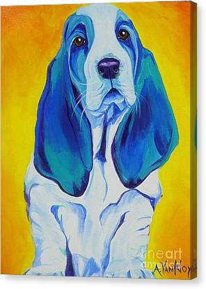 Basset - Ol' Blue Canvas Print by Alicia VanNoy Call