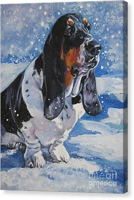basset Hound in snow Canvas Print by Lee Ann Shepard