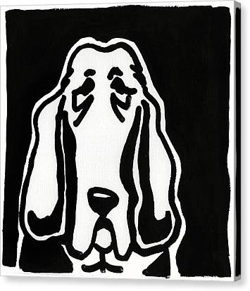 Basset Hound Ink Sketch Canvas Print by Leanne WILKES