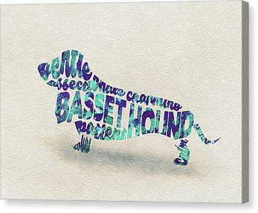 Basset Hound Watercolor Painting / Typographic Art Canvas Print