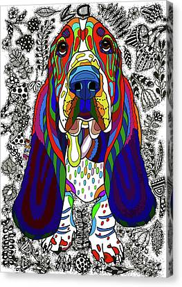 Colorful Canvas Print - Basset Hound by ZileArt