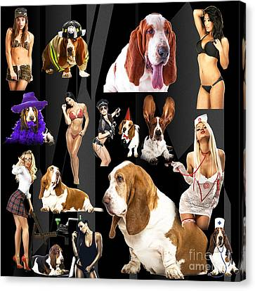Bassets And Babes Canvas Print by John Rizzuto